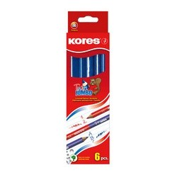 Kores buntstift twin jumbo, blau/rot, 3-eckig (LOT DE 12)