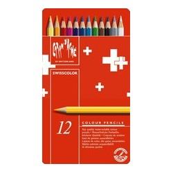Caran d'ache crayons de couleur swisscolor, étui métal de 12
