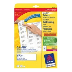 Avery zweckform étiquettes adresse quickpeel, 63,5 x 38,1 mm