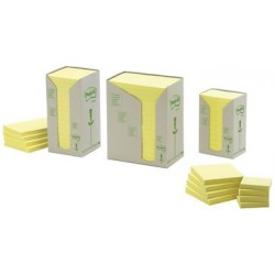 3m post-it bloc-notes adhésif recyclable, 38 x 51 mm, jaune (LOT DE 24)