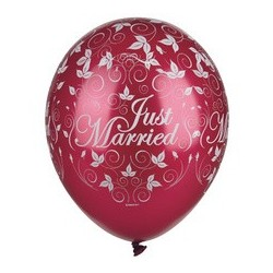 "Papstar luftballons ""just married"", elfenbein metallic"