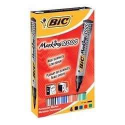 Bic marqueur permanent 2000, pointe ogive, étui de 4,