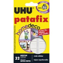 Uhu pastilles adhésives patafix homedeco, détachable, blanc